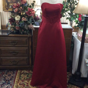 WOW Garnet Red Bridesmaid Pageant Ball Gown Dress